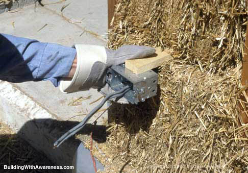 electrical box in straw bale wall