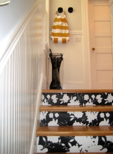 wallpepered stairs