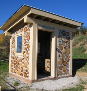 cordwood shed Georgeson Botanical Garden
