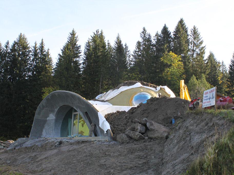 круглый дом с зеленой крышей